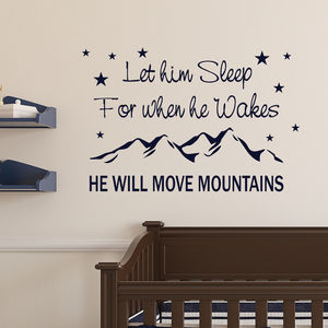 'Will Move Mountains' Nursery Wall Quote - wall stickers