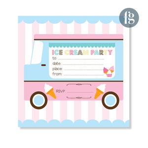 Vintage Ice Cream Party Invitations - childrens party invitations