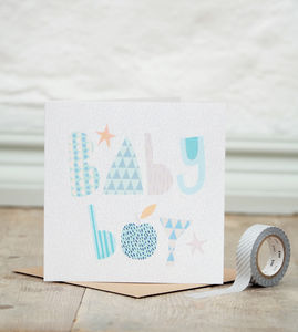 Baby Boy Geometric Greetings Card