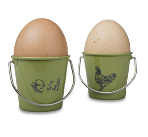 Egg Cup Buckets / Sage Rooster And Hens - egg cups & cosies