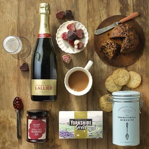 Champagne Afternoon Tea With Ceramic Mug And Cake Stand - our favourite hampers