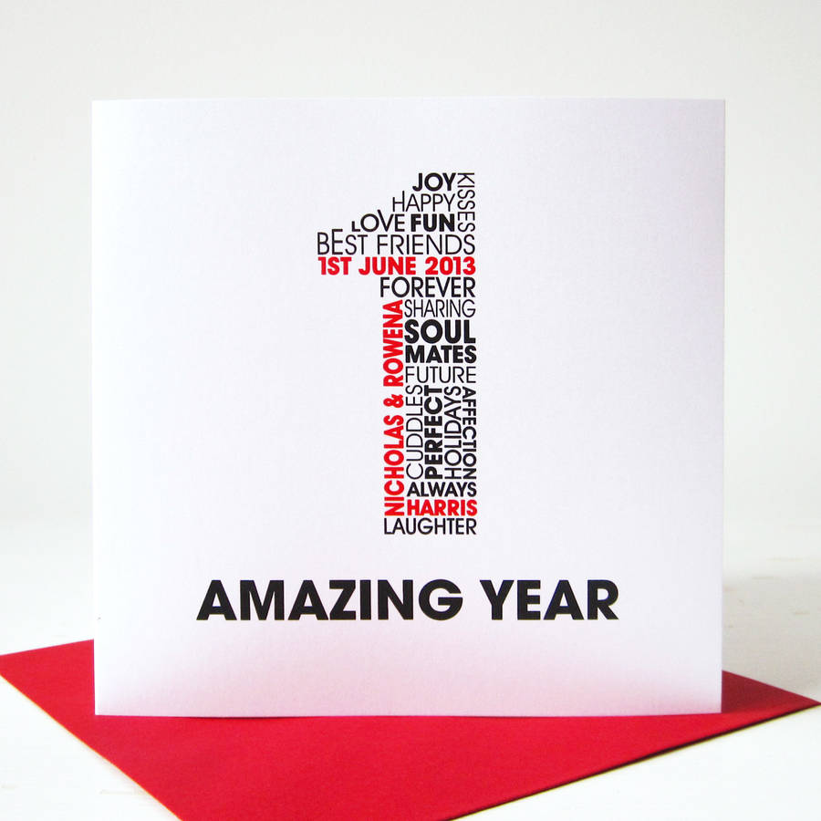 Personalised anniversary card by mrs l cards for 1st year anniversary gift ideas for wife