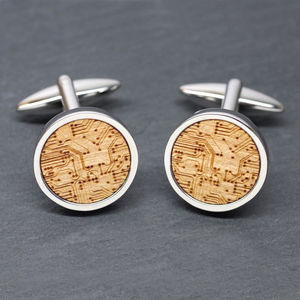 Wooden Circuit Board Cufflinks - gifts for geeks