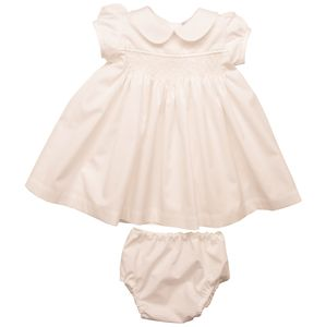 100% Cotton Smocked Baptism Dress And Pants Set