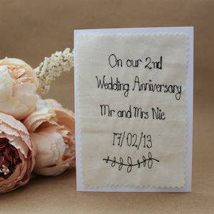 Personalised Wedding Anniversary Textile Card