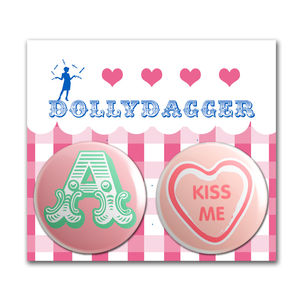 Dollydagger Kiss Me Personalised Button Badge Set