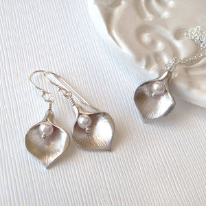 Calla Lily White Jewellery Set - gifts for her