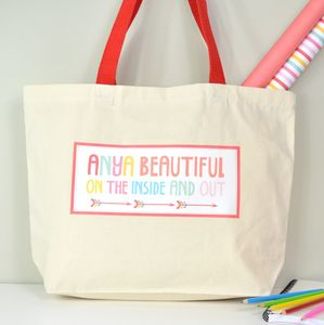 Girls Personalised Beach Or Shopper Bag