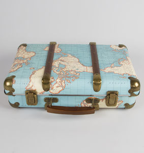 Vintage World Map Suitcase - toy boxes
