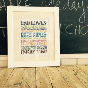 Personalised Dad Loves Frame - gifts from younger children