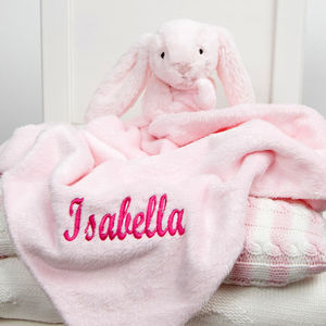 Personalised Pink Bunny Baby Comforter - baby's room