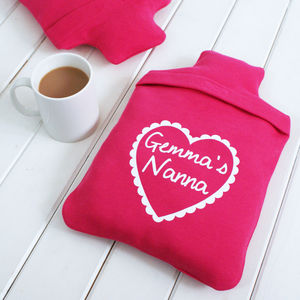 Personalised Love Heart Hot Water Bottle Cover - gifts for grandparents