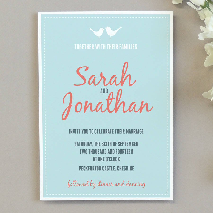 how to address couples on wedding invitations%0A Love Bird Wedding Invitation