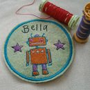 Personalised Embroidered Wool Felt Robot Patch
