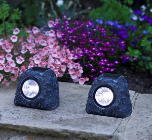 Granite Rock Solar Spot Lights / Set Of Four - lighting