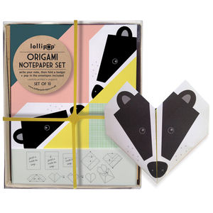 Origami Notepaper Set : Badger - all purpose cards, postcards & notelets