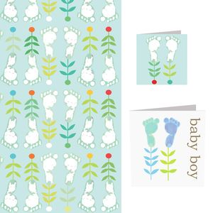 Baby Boy Card And Wrap Set