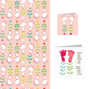 Baby Girl Card And Wrap Set