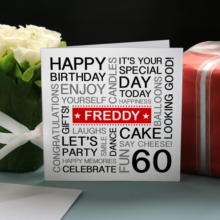 Personalised 60th birthday card by a type of design personalised 60th birthday card bookmarktalkfo Choice Image