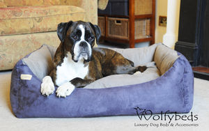 Luxury Faux Suede Dog Bed - dogs