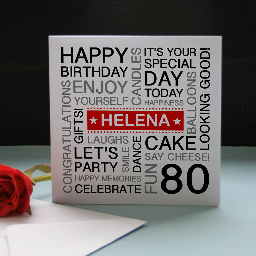 Personalised 80th Birthday Card Red Banner