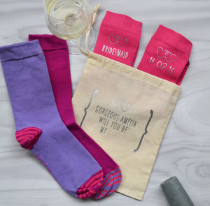 Personalised Bridesmaid Wedding Socks - bridesmaid gifts