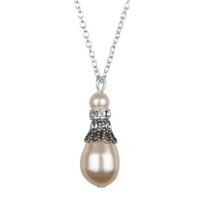 Crystal Filigree And Pearl Pendant Necklace