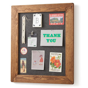 Old Wood Framed Pinboard Noticeboard - storage & organisers
