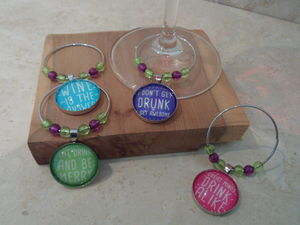Set Of Four Wine Glass Charms