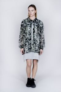 Camo Print Billow Shirt Dress - contemporary women's fashion