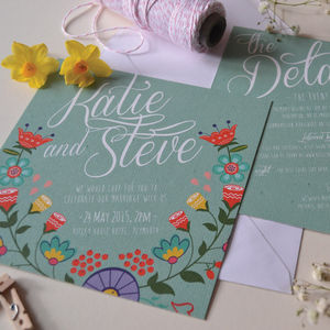 Folkin Floral Wedding Invitation - wedding stationery