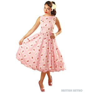 1950s Style Dress Pink Floral