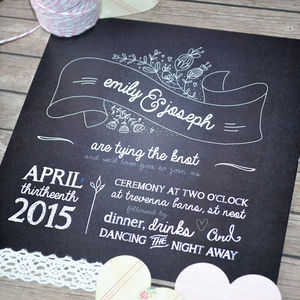 Village Fayre Chalkboard Wedding Invitation