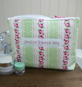 Personalised Floral And Spot Washbag