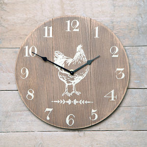 Wooden Country Distressed Hen Clock - clocks
