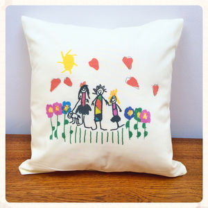 Cushion Printed With Your Child's Drawing - gifts for grandparents