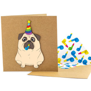 Birthday Pug Personalised Card