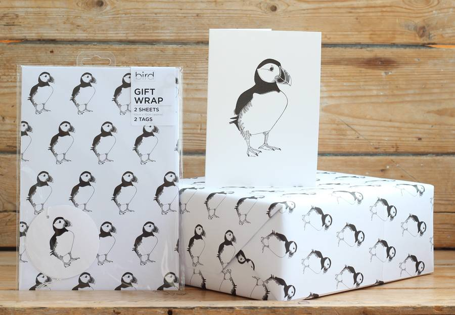 Puffin Print Gift Wrap With Tags