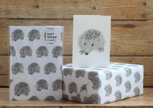 Hedgehog Gift Wrap With Tags