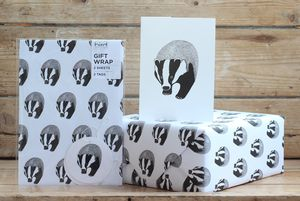Badger Gift Wrap With Tags - wrapping paper