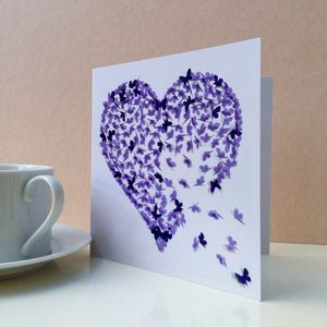 Purple Heart Butterfly Blank Card - valentine's cards