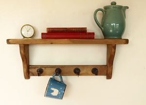 Country Cottage Open Back Shelf With Metal Cup Holders