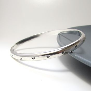 Personalised Hearts Heavy Silver Bangle