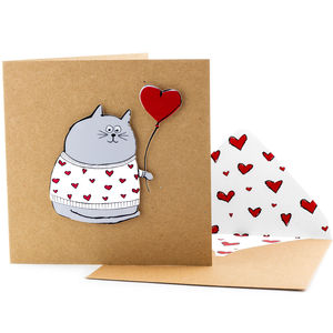 Heart Jumper Cat Personalised Card - personalised cards