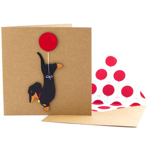Dachshund Balloon Personalised Birthday Card - funny cards