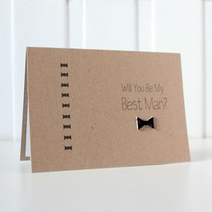 Personalised 'Be My Best Man' Bow Tie Wedding Day Card - be my bridesmaid?