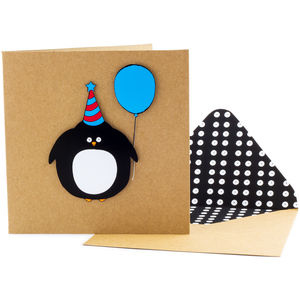 Birthday Penguin Personalised Card - birthday cards