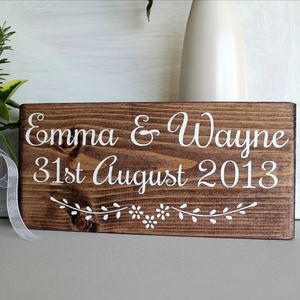 Personalised Name And Date Handmade Wedding Sign