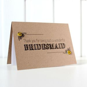 Personalised Bridesmaid 'Thank You' Card - thank you cards