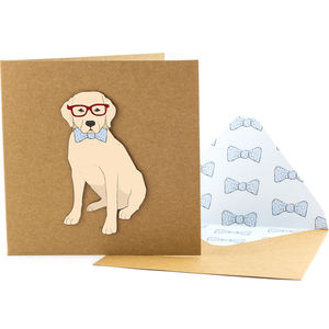 Bow Tie Labrador Personalised Card - view all sale items